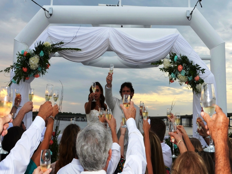 Destin Beach Weddings sky deck toast Solaris yacht wedding