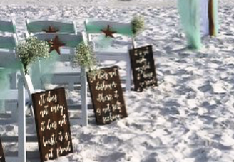 destin beach weddings aisle markers green