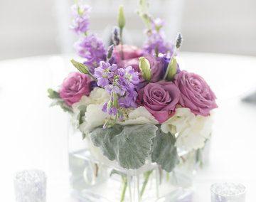 destin wedding flowers purple centerpiece