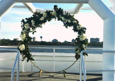 destin wedding flowers greenery white rose ring
