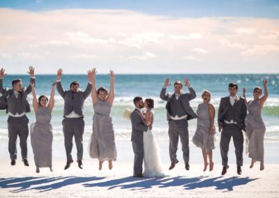 destin beach weddings karley wesley group jump