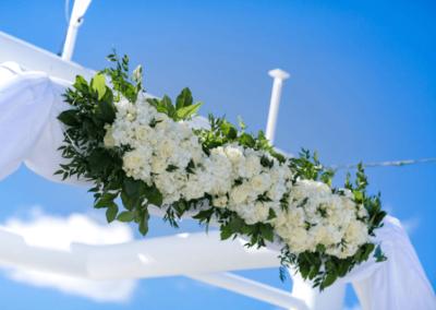 destin wedding flowers white header on sky deck